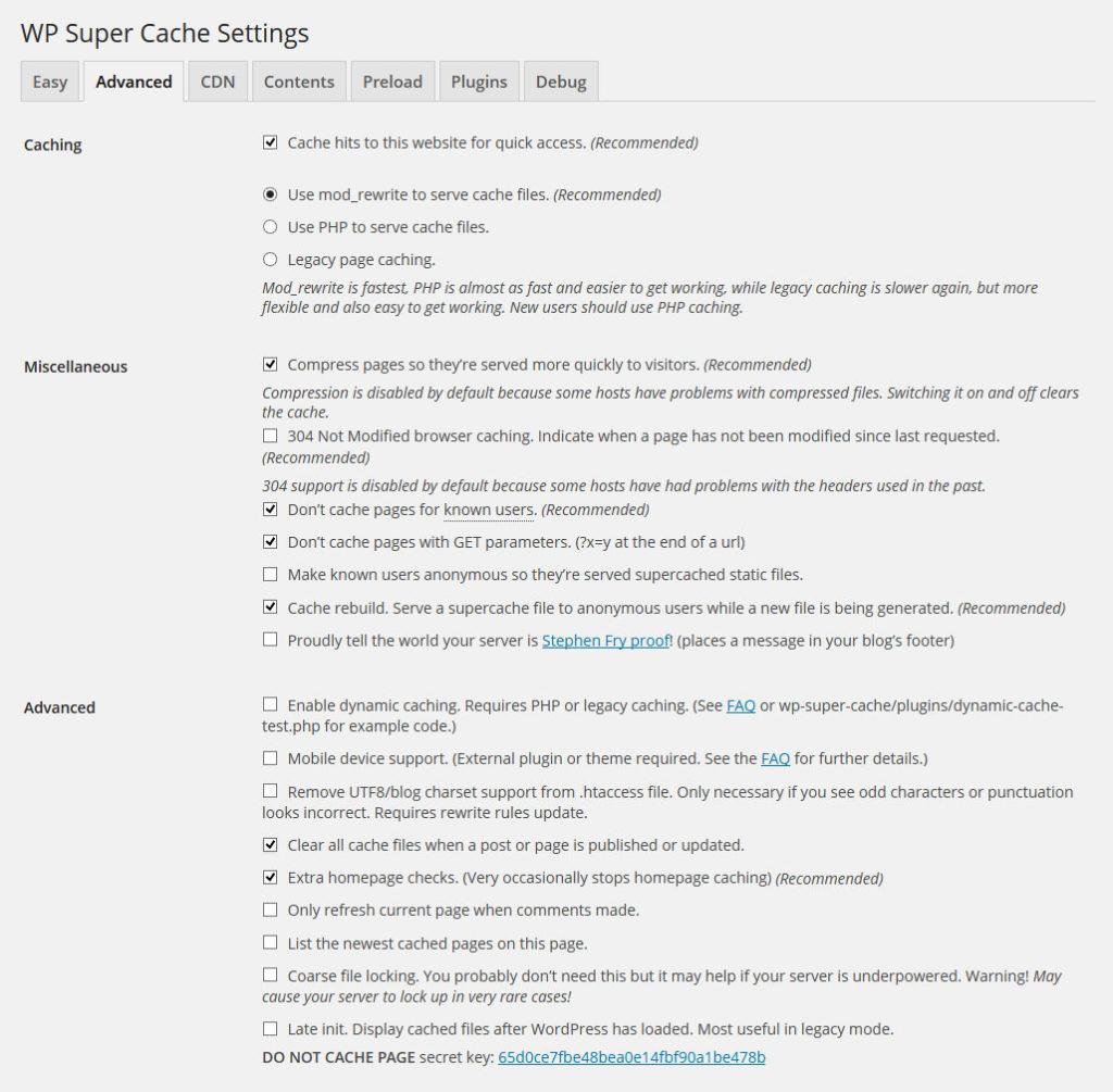 opciones-supercache