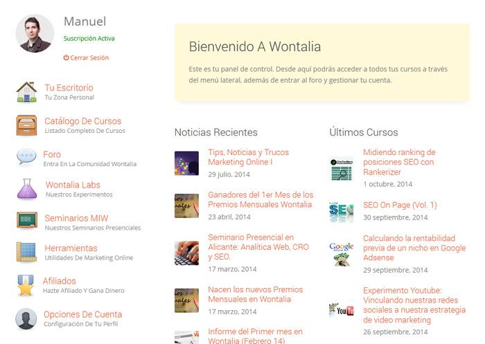 El escritorio de cada usuario en Wontalia es un ejemplo de intranet. Además, es una plataforma para que los usuarios hablen entre sí.