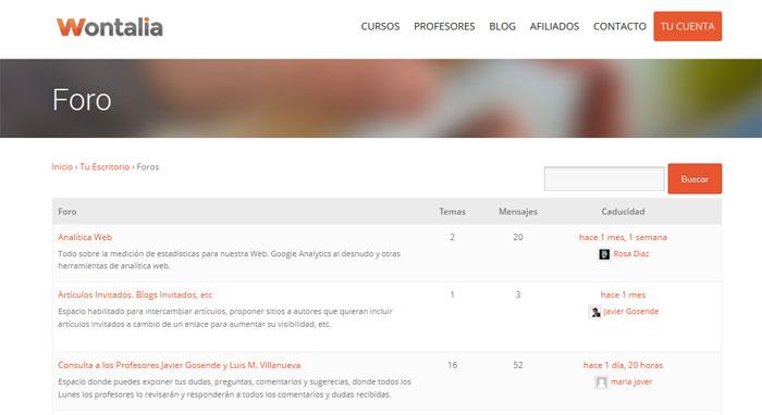 El foro del portal de e-learning Wontalia.